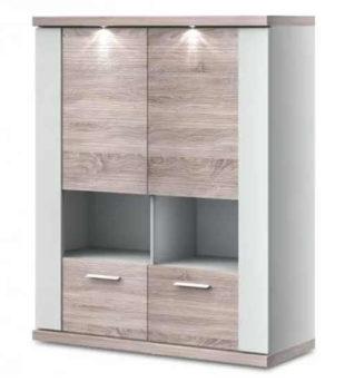 Velká závěsná skříňka do obývacího pokoje kombinace bílá dub sonoma