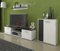 Černobílá obývací stěna TV stolek, komoda a police