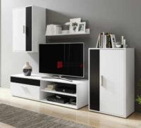Černobílá obývací stěna vhodná i do menších prostor