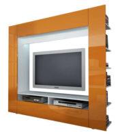 Lesklá moderní oranžová výklopná televizní stěna