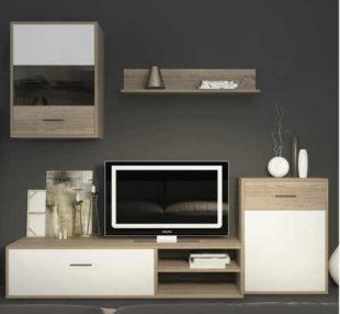 Levná moderní obývací stěna Sconto SELENA - kombinace dub sonoma a bílá