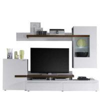 Moderní obývací stěna v dekoru bílá/ořech