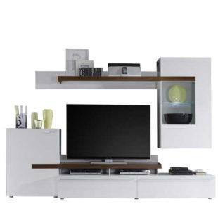 Moderní obývací stěna v dekoru bílá-ořech