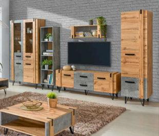 Velká obývací sestava v dekoru dub-šedá