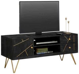 Nízká černo-zlatá komoda - TV stolek na nožkách