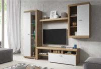 Elegantní obývací stěna v dekoru dub/bílá mat