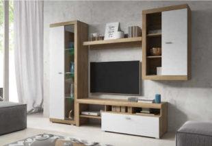 Elegantní obývací stěna ve stylovém dekoru dub-bílá mat