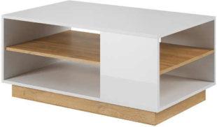 Moderní konferenční stolek v designu dub-bílý lesk