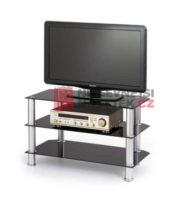 Skleněný TV stolek s otevřeným úložným prostorem
