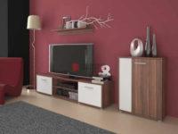 Moderní obývací stěna v provedení švestka/bílá