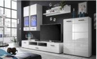 Obývací stěna v provedení bílá lesk