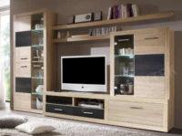 Moderní obývací stěna dub sonoma s LED osvětlením
