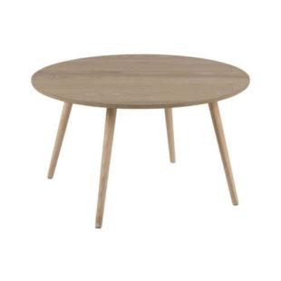 dřevěný kulatý stolek do obýváku