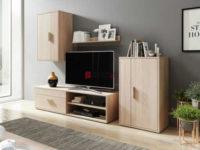 Dřevěná obývací stěna ve světlém provedení