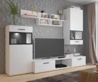 Obývací stěna v bílém provedení