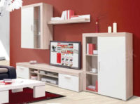 Prostorná obývací stěna v dekoru dub sonoma/bílá