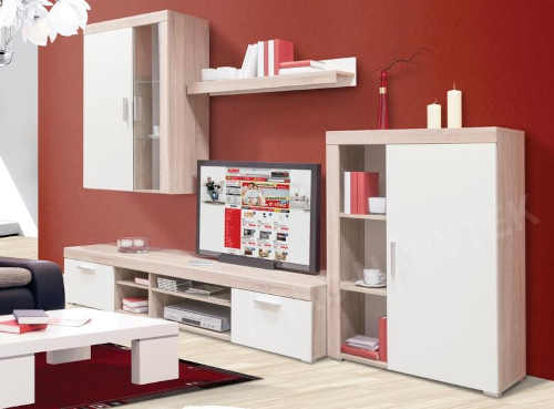 Prostorná obývací stěna v dekoru dub sonoma-bílá