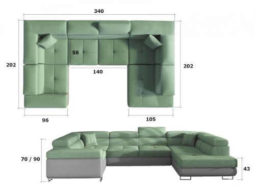 luxusní velká sedačka do U