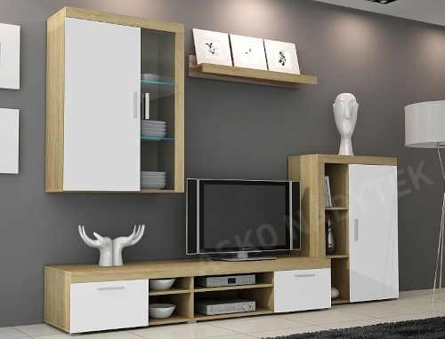 moderní obývací stěna dub sonoma-bílá