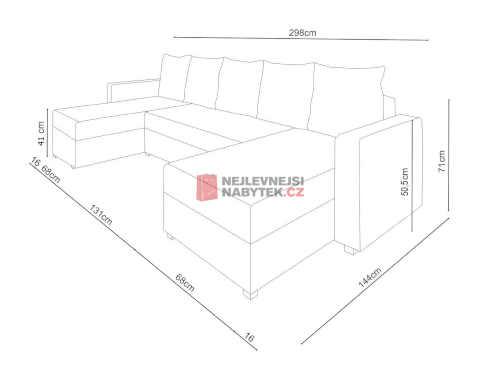 prostorná čalouněná rozkládací sedačka