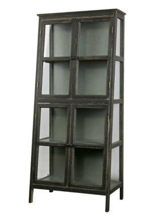 Dřevěná prosklená vitrína ve vintage stylu