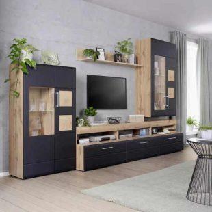 Moderní obývací stěna v dekoru dub-černá