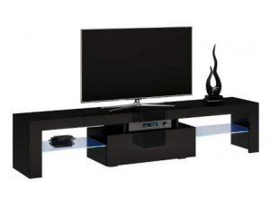 Černý televizní stolek se skleněnými policemi