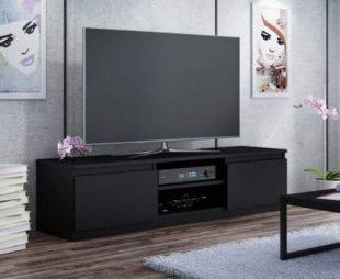 Černý televizní stolek vhodný i do menších místností