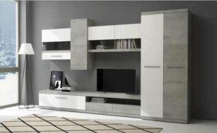 Moderní obývací stěna v dekoru bílá-beton