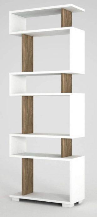 Bílo-hnědá knihovna Woody Fashion Blok