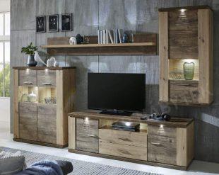 Kvalitní designová obývací stěna s LED osvětlením